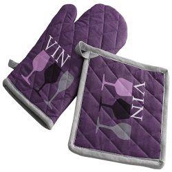 Gant et manique de cuisine cave a vin violet