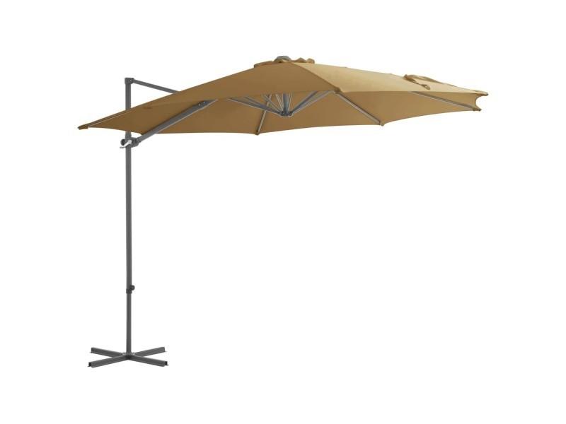 Vidaxl parasol avec base portable taupe 276342