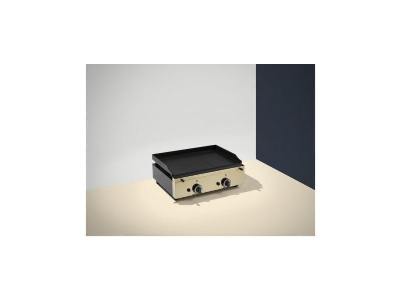 Plancha a gaz colorée - 2 brûleurs - plaque lisse 14 mm - 600 x 455 x 230 mm - pinha2 - anthracite acier émaillé