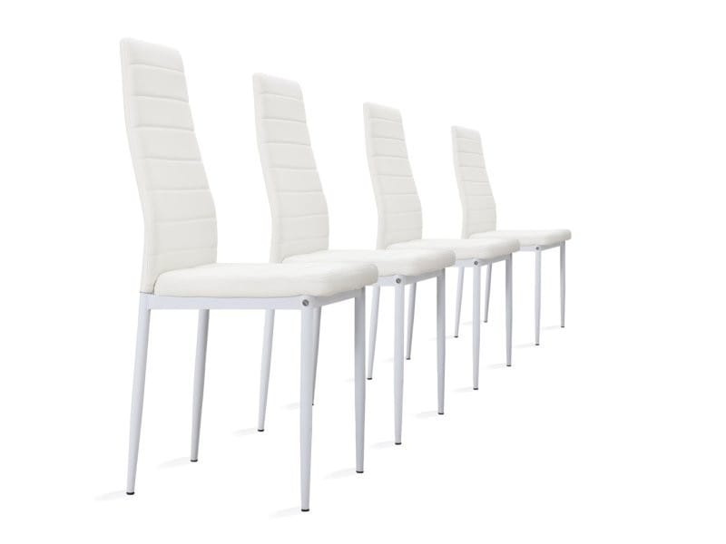 Lot de 4 chaises en simili cuir (lot de 4, blanc)