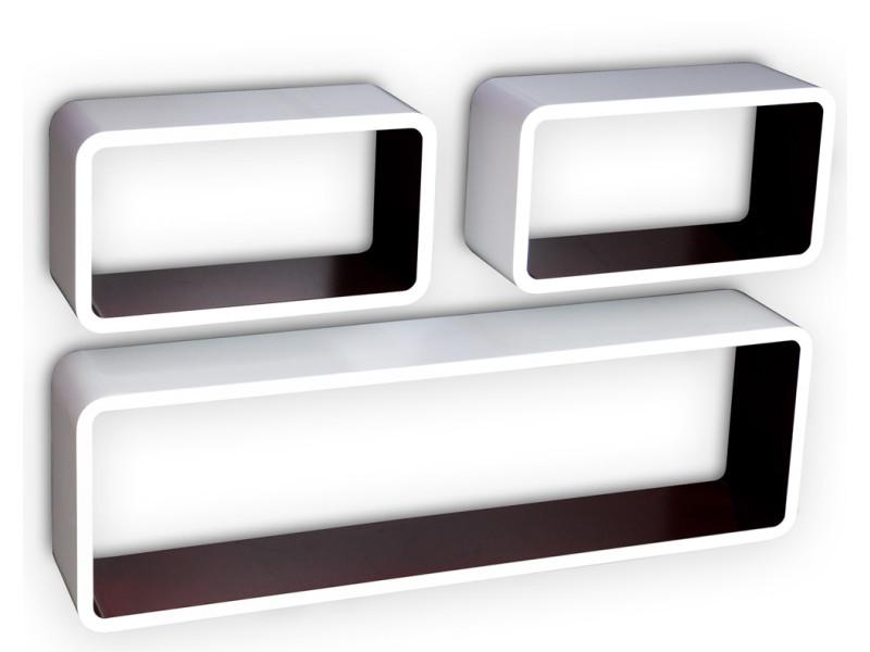 Etagère cube murale de 3 pièces, coloris blanc et brun -pegane-