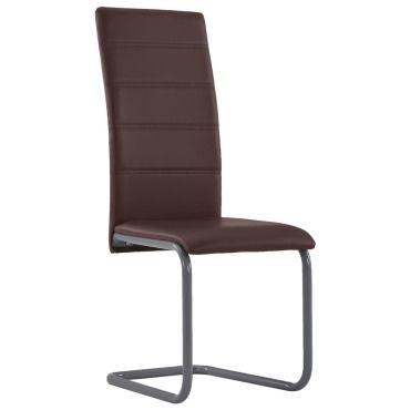 Vidaxl chaises de salle à manger cantilever 2 pcs marron