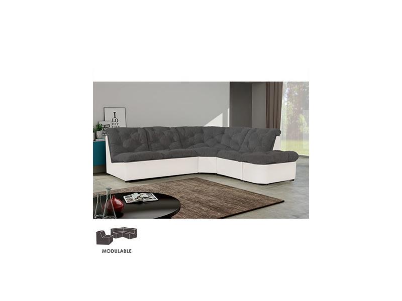 Canapé modulable arrondi en pu et microfibre gris clair