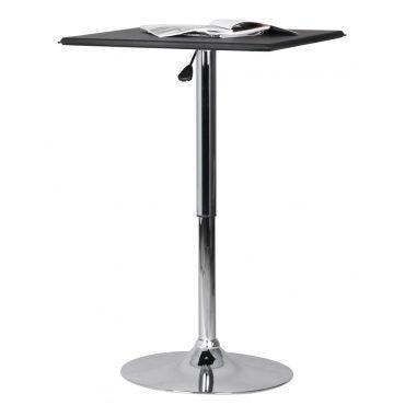 table de bar 63x63 cm r glable en hauteur avec plateau en cuir synth tique noir conforama. Black Bedroom Furniture Sets. Home Design Ideas