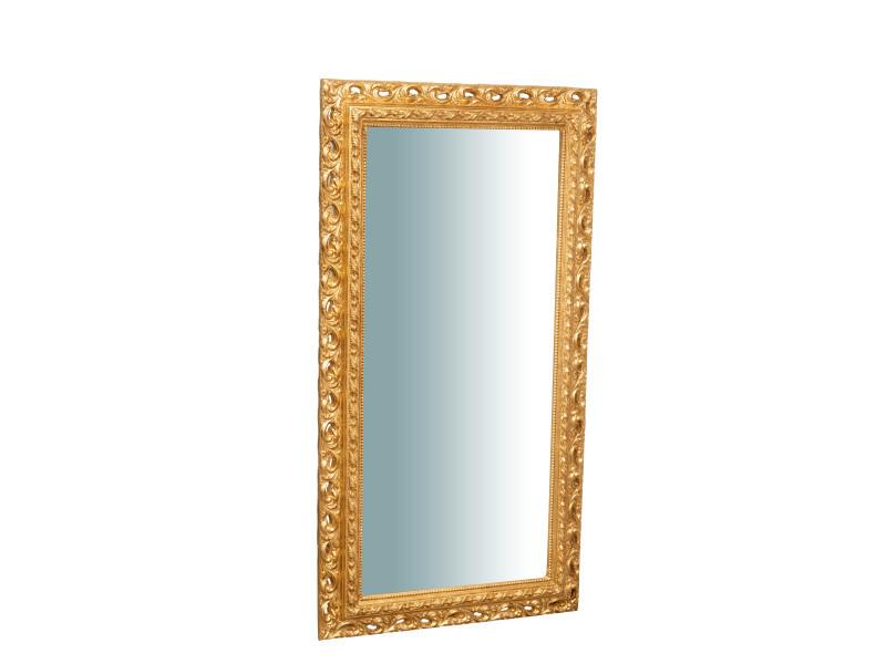 Miroir, long miroir mural rectangulaire, à accrocher au mur, horizontal et vertical, shabby chic, salle de bain, chambre à coucher, cadre finition or antique, grand, long, l70xp5xh129 cm. Style shabby chic.