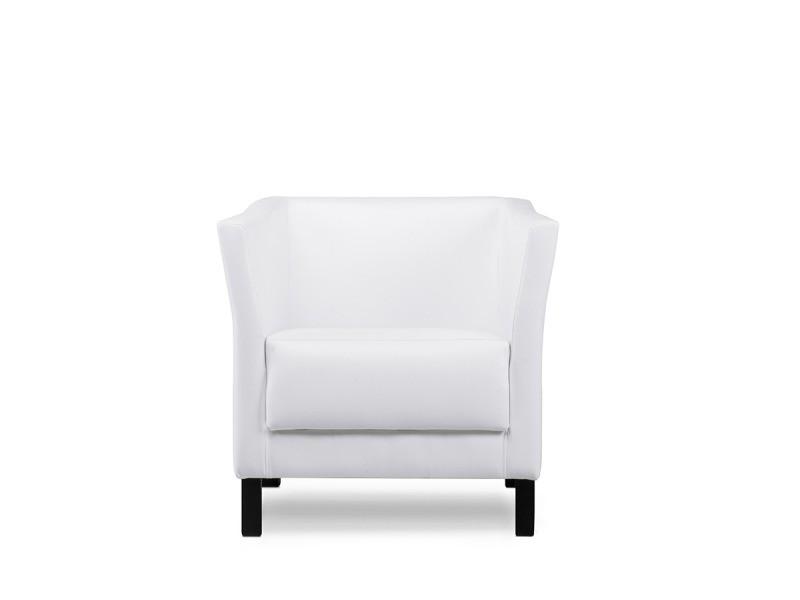 Especto - fauteuil style moderne - 74x71x67 cm - revêtement simili-cuir - pieds en métal - assise + dossier moelleux - blanc