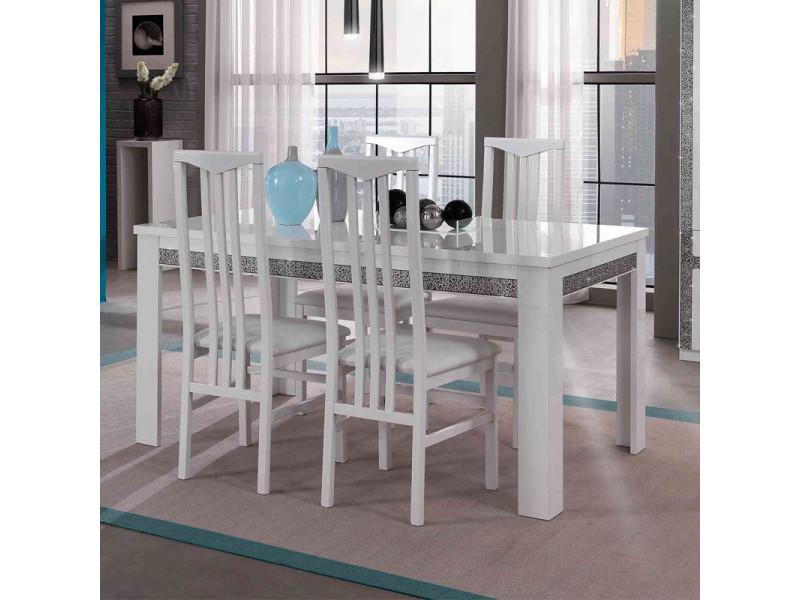 Table de repas rectangulaire laqué blanc - crac - l 160 x l 90 x h 77 cm