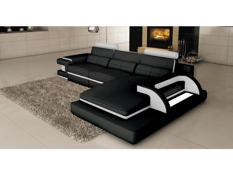 Canapé d'angle cuir noir et blanc design avec lumière ibiza (angle droit)-