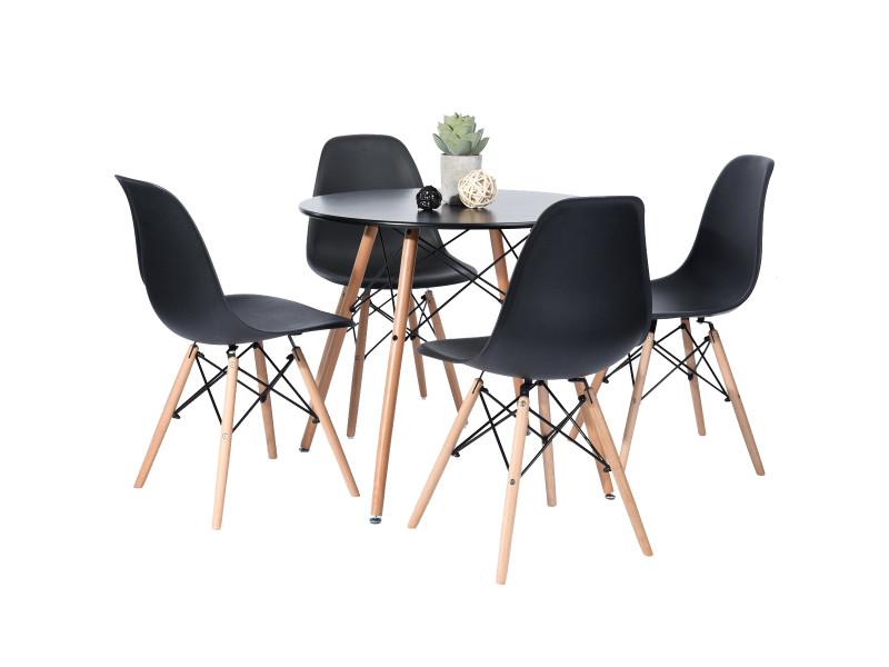 Ensemble table chaises 4 places scandinave noir plastique bois