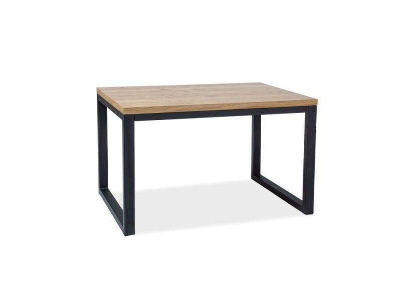 Loraf - table de style industriel pour la salle à manger - 120x80x78 cm - plateau en bois plaqué - table fixe - chêne