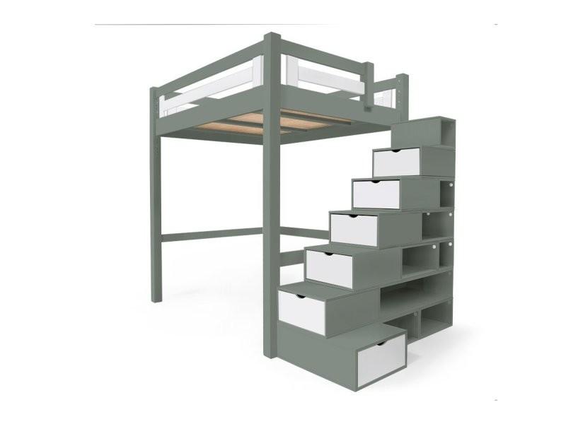 Lit mezzanine alpage bois + escalier cube hauteur réglable 140x200 gris/blanc ALPAG140CUB-GLB