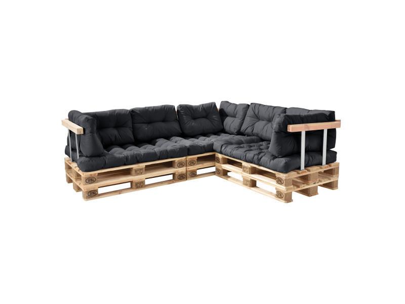 [en.casa] canapé de palette euro- 5-siège avec coussins- [gris foncé] kit complète incl. Dossier et appuie-bras