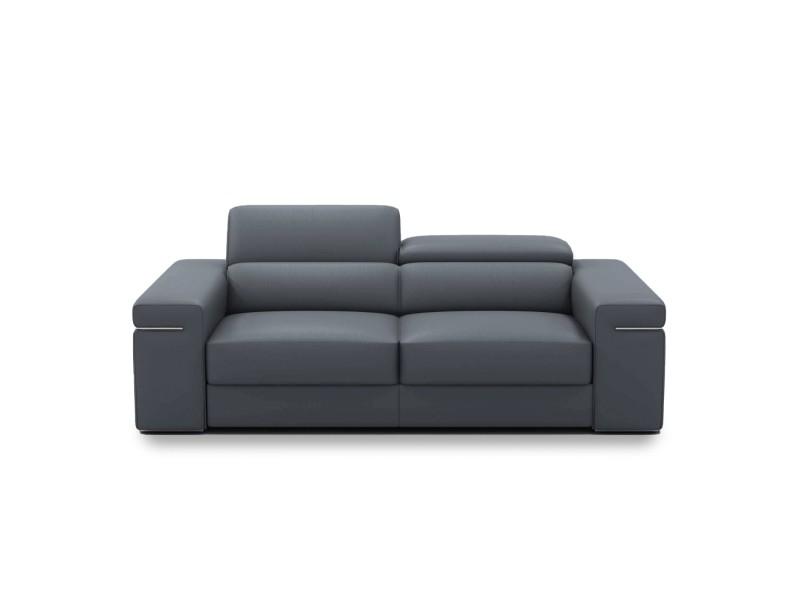 Billy - canapé design 3 places en cuir gris