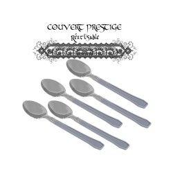 20 cuilleres prestige jetables plastique gris