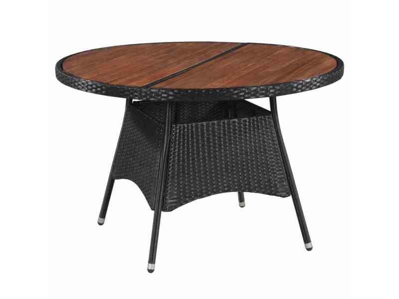 Inedit meubles de jardin serie bujumbura table d'extérieur résine tressée et bois d'acacia 115 x 74 cm