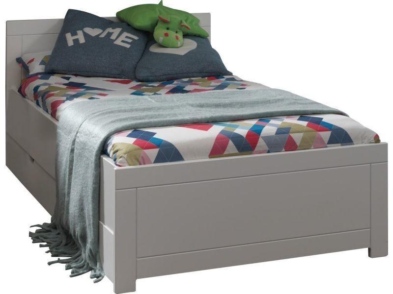 Lit enfant moderne 90x200cm avec tiroir coloris blanc p-7343-co ...