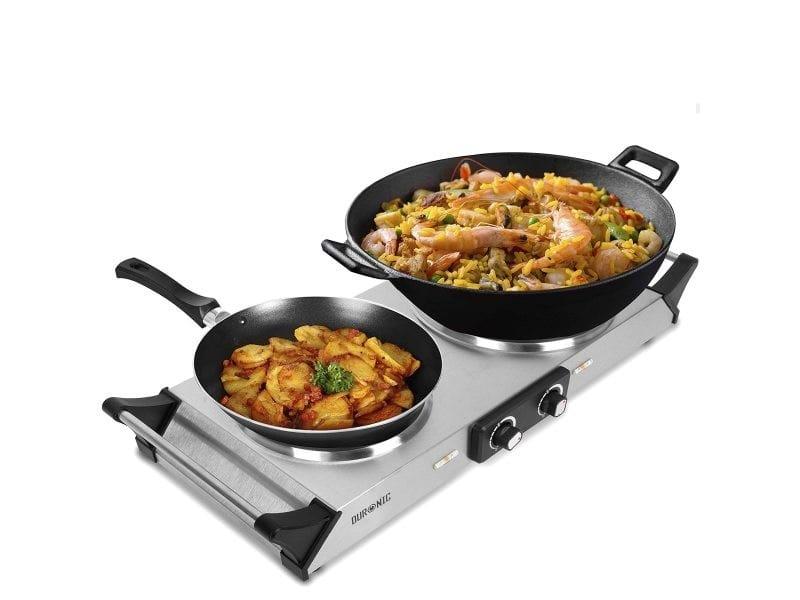 Duronic hp2 ss plaque de cuisson chauffante électrique avec double foyer en fonte de 20 et 15 cm| 2500w | compacte et mobile | poignées ergonomiques | thermostat | camping, camping-car, caravane