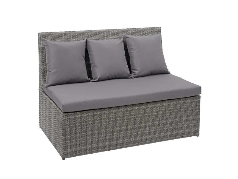 Canapé en polyrotin, 2 places hwc-g16, banc, fauteuil, gastronomie, 120 cm ~ gris, coussin gris foncé