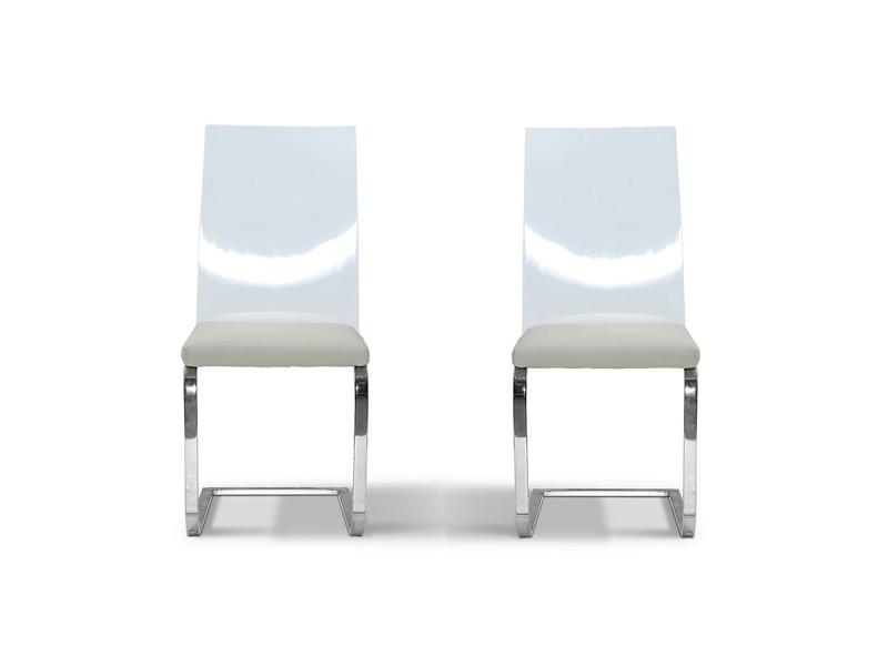 Chaise design nude - gris/taupe - lot de 2