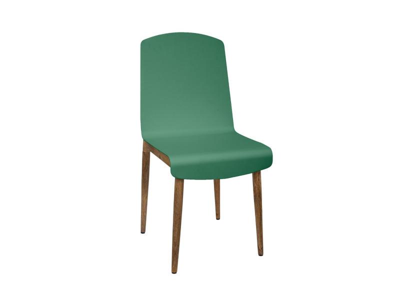 Atmosphera - chaise de salle à manger en bois de manguier et acier vert h 87.5 cm