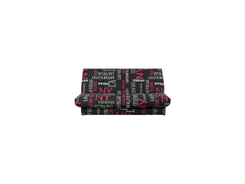 Banquette clic clac 120 x 190 cm - tissu noir et rouge - l 195 x p 90 x h 84 cm - wording WORDINGCC