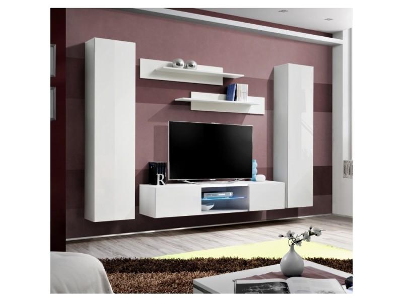 Ensemble meuble tv mural - fly o1 - 260 x 40 x 190 cm - blanc