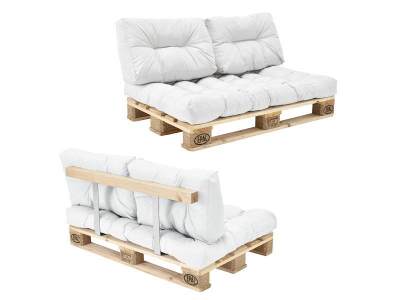 [en.casa] canapé de palettes - 2-siège avec coussins - (blanc) kit complètet incl. Dossier