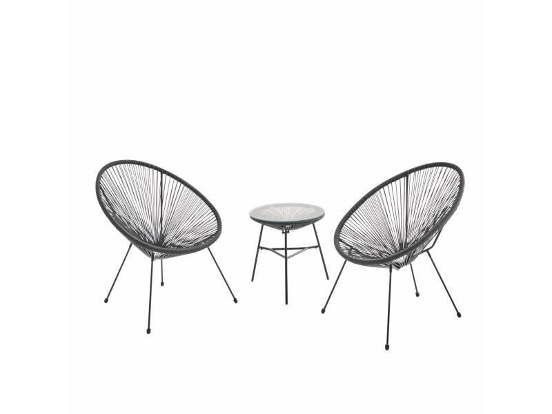 Lot de 2 fauteuils acapulco forme d'oeuf avec table d'appoint - noir - fauteuils 4 pieds design rétro. Avec table basse. Cordage plastique. Intérieur / extérieur
