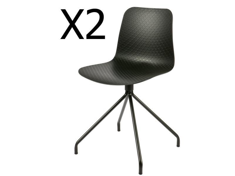 Lot de 2 chaises design en polypropylène, coloris noir - dim : h 81,5 x l 45 x p 46,5 cm - pegane -