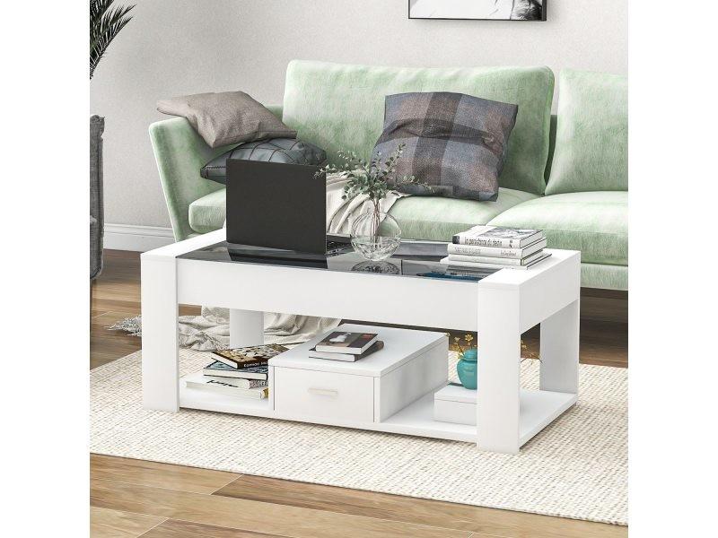 Table basse moderne blanche 100x50x40 cm avec plateau en verre noir