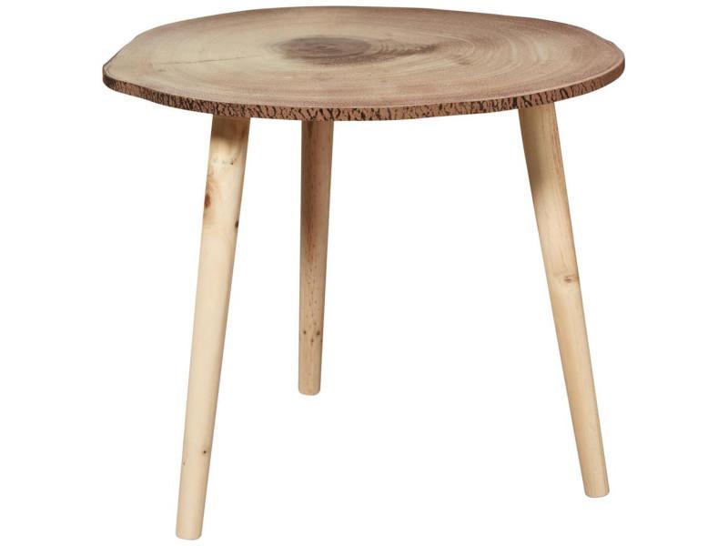 Moon table basse style contemporain coloris naturel pieds métal - l 49 x l 48 cm