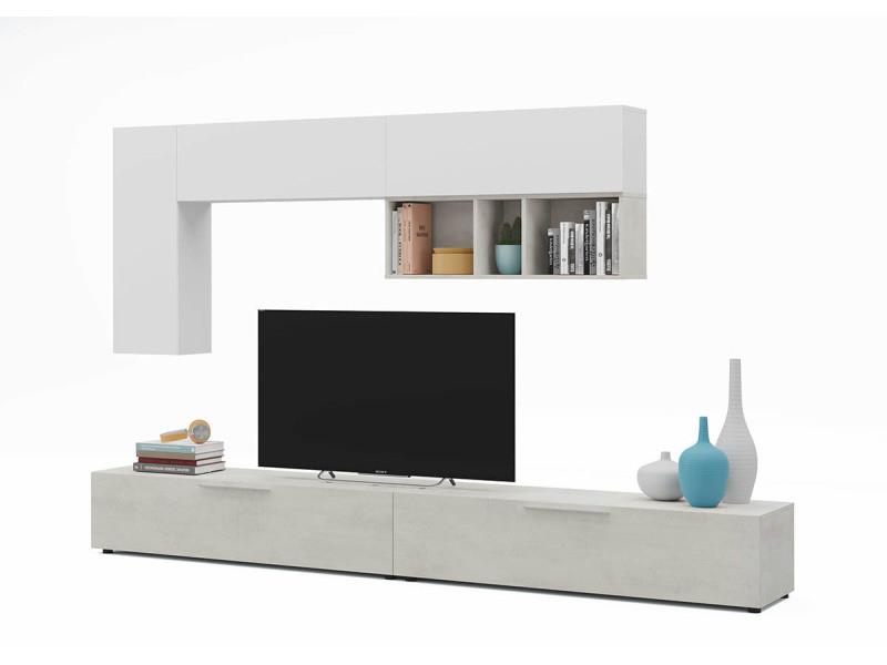 Ensemble séjour / séjour tv en bois , finition ciment / blanc antic