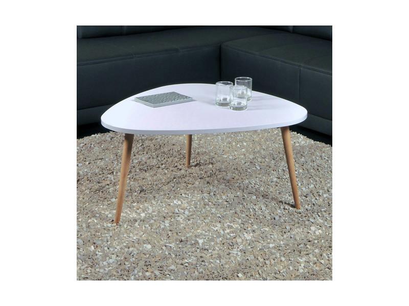 Table basse galet 80x80cm / blanc mat