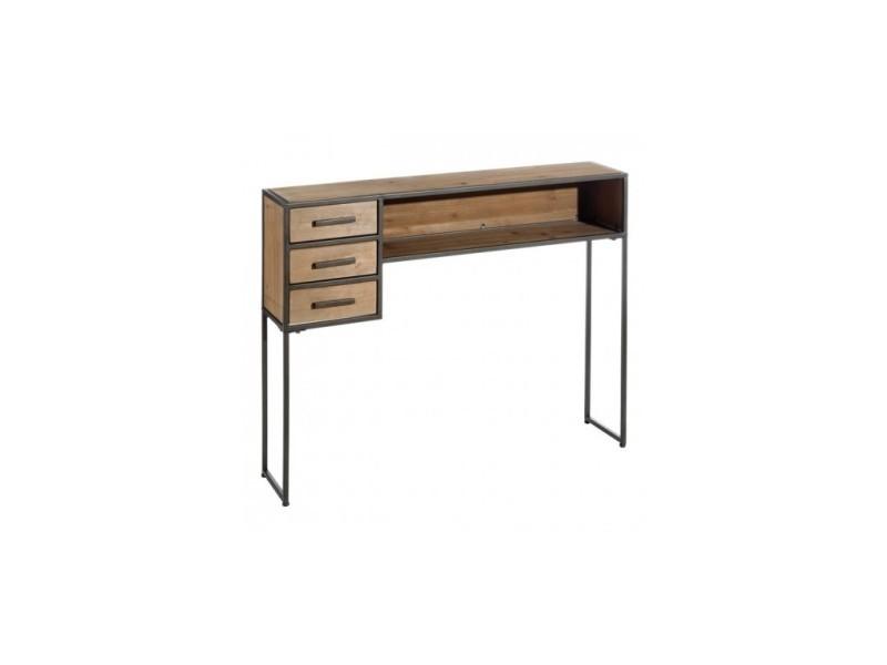 Console bois industriel 3 tiroirs 120 cm horu