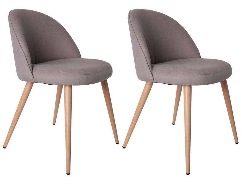 The home deco factory - fauteuil gris style scandinave vintage (lot de 2)
