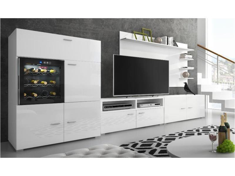 Ensemble Meubles Tv Refrigerateur La Sommeliere Blanc Laque Mat 295x175x57 40 Cm Vente De Meuble Tv Conforama