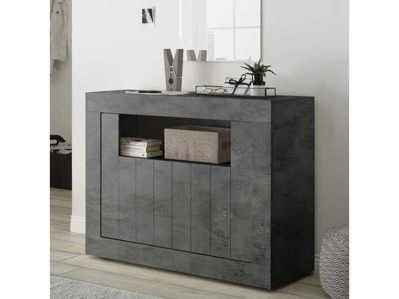 Petit meuble d'entrée gris anthracite moderne 110 cm, 2 portes urban