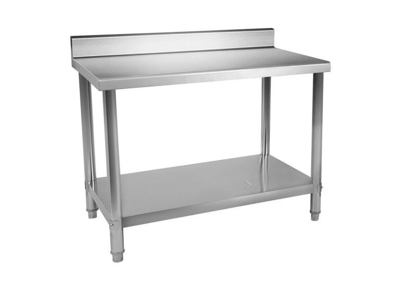 Table de travail inox avec dosseret 120 x 70 cm capacité de 143 kg helloshop26 14_0003700