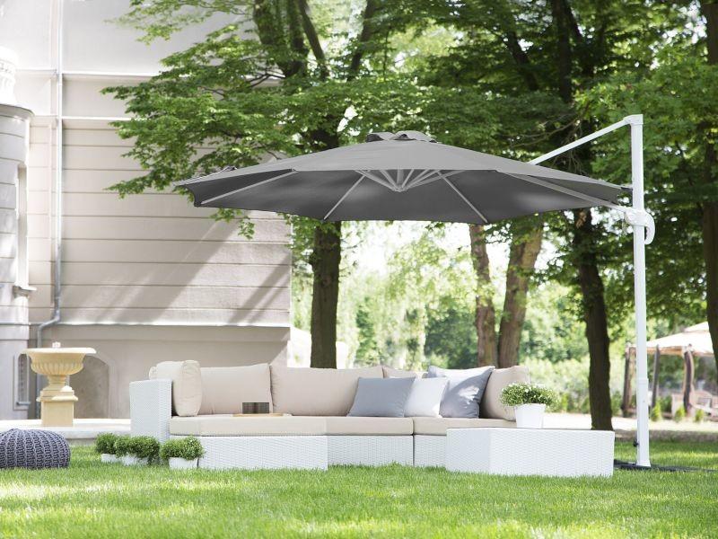 Grand parasol de jardin gris foncé ø 300 cm savona 85790