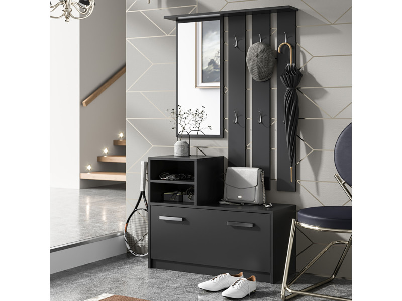 meuble entr e vestiaire entr e ambre 85 cm noir avec armoire chaussures selsey. Black Bedroom Furniture Sets. Home Design Ideas