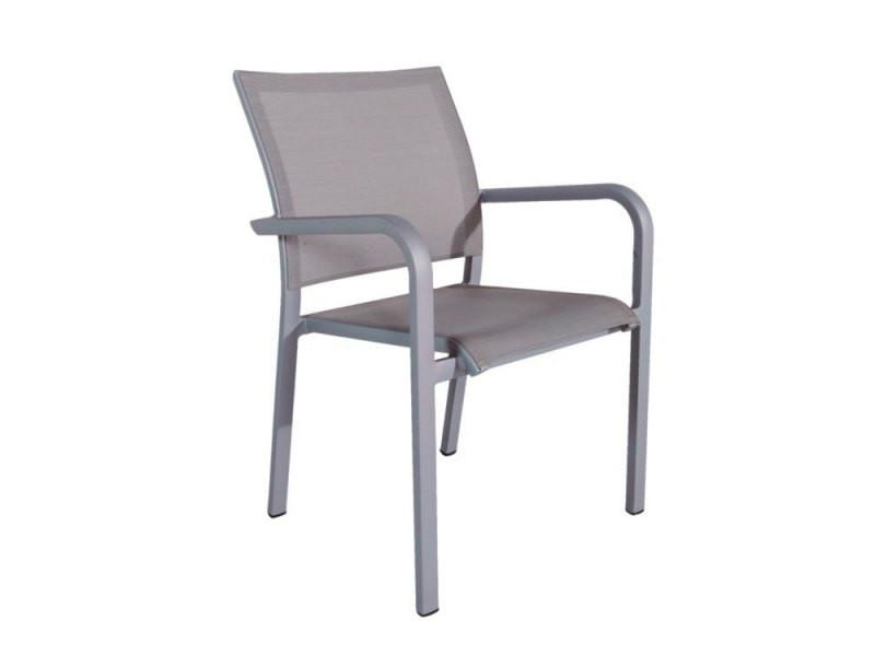 Chaise en alu gris textilène gris clair paloma
