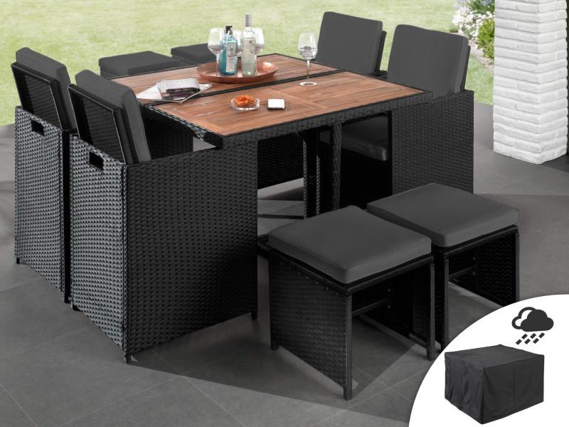 Maya - salon de jardin encastrable 8 places - en résine tressée - noir avec coussins gris + housse de protection couleur - noir