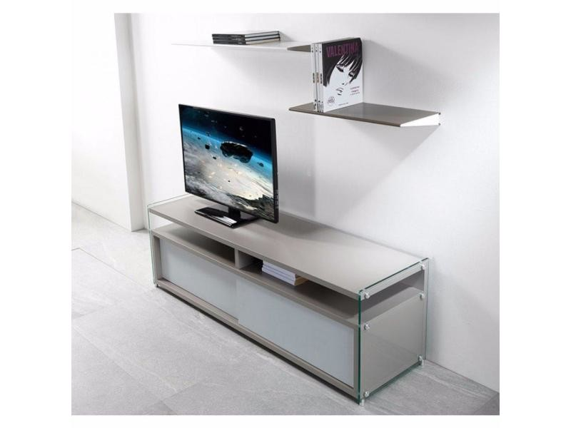 Meuble tv talac gris mat 2 portes coulissantes blanc mat 20100853657