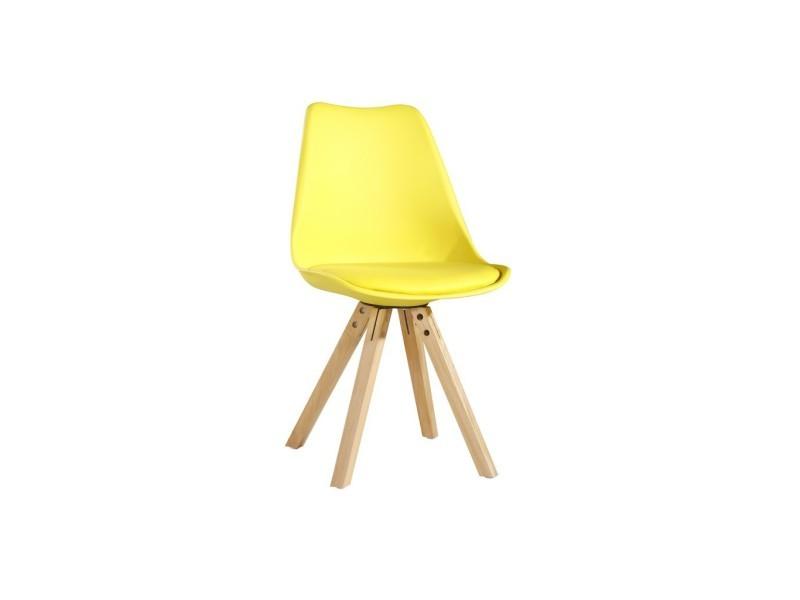 chaise scandinave avec pieds en bois jaune vente de les douces nuits de mae conforama - Pied De Chaise Scandinave
