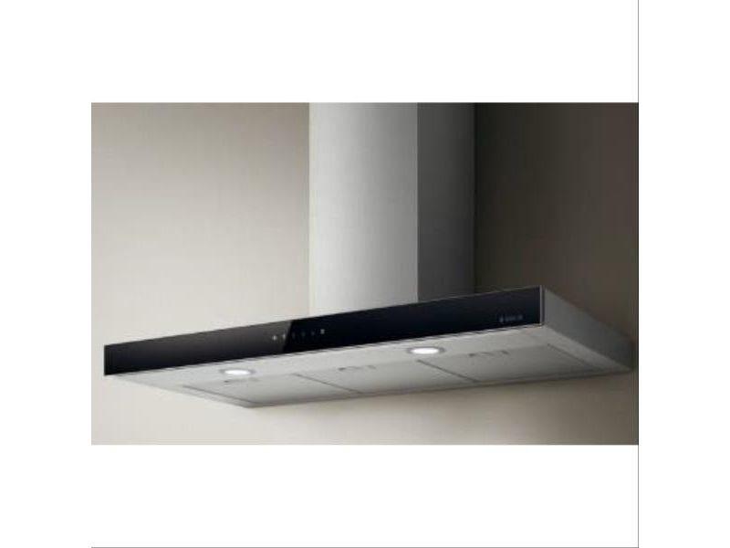 Hotte decor murale box inox et bandeau verre noir 90 cm, filtre à charb elica - prf0104626a