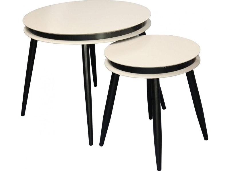 2x tables gigognes side suri 110 taupe noir 14DLO