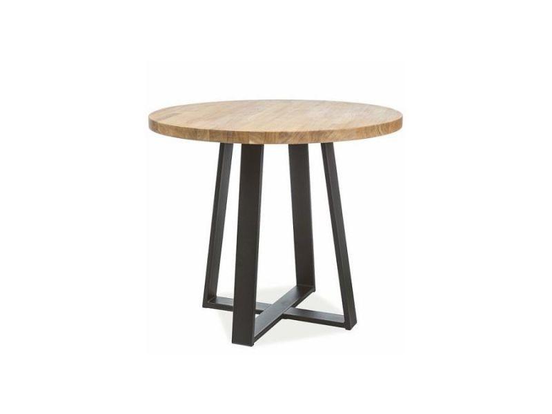 Gianna - table de salle à manger de style loft - dimensions : 80x80x78 cm - plateau rond en bois massif huilé - base en métal - chêne