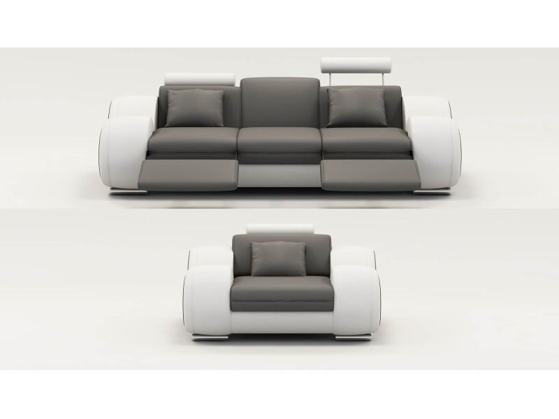 Ensemble cuir relax oslo 3+1 places gris et blanc-
