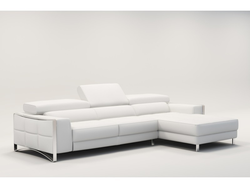 Canapé d'angle design en cuir blanc sheyla-
