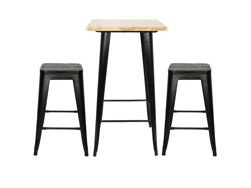 Hombuy® ensemble de table de bar couleur bois et 2 tabourets avec siège en bois style industriel pour bistrot, cuisine, jardin, restaurant